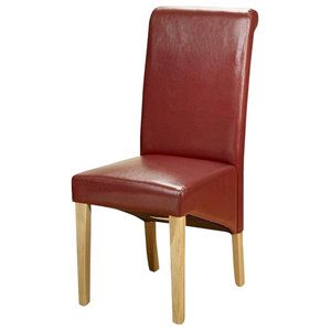 Contemporary High Back Chair, Faux Leather With Oak Finished Wooden Legs, Red