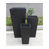 Tall Tapered Contemporary Black Light Concrete Planter H89 L43 W43 cm
