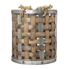 """Banana Leaf Tote Storage Basket w//Loop Side Handles ~ Handmade ~ 19/"""" Dia x 14/"""" H"""
