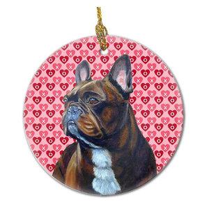 French Bulldog Valentine'S Love And Hearts Ceramic Ornament