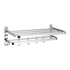 YesHom - Wall Mounted Towel Rack Rail Holder Folding Shelf SUS304 Stainless Steel - Towel Racks & Stands