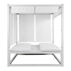 Madaona Outdoor Daybed, White Frame With White Fabric