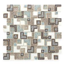 "11.88""x11.88"" Serena Crackle-Glass Mosaic Tile Sheet, Brown"