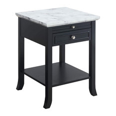 Contemporary Nightstand With Pull Out Tray Drawer And Open Shelf Faux Marble/B
