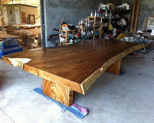 Reclaimed Solid Slab Acacia Wood Dining Table By Flowbkk