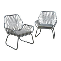 Gloria Outdoor Rope and Steel Club Chairs, Gray/Gray/White, Set of 2