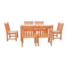 Malibu Eco-Friendly 7-Piece Outdoor Hardwood Dining Set
