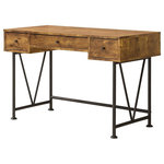 Coaster Fine Furniture - Coaster Barritt Industrial Style Writing Desk With 3 Drawers - Industrial Style Collection Incorporating Wood Finished In Antique Nutmeg and Metal Finished In Black