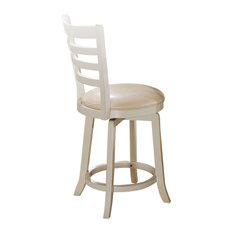Wilton Counter Height Chairs With Swivel, Cream PU and Antique Cream, Set of 2