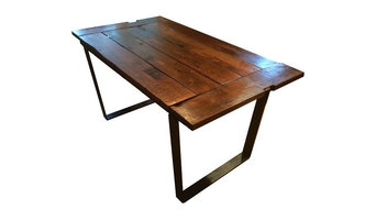 "84"" Rustic Reclaimed Barnwood Farm Table With Metal Frame, Natural Varnish"