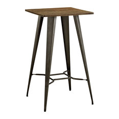 Metal Square Bar Table With Bamboo Top Brown