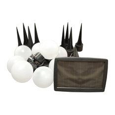 10-Light Lumabase Luminarias Solar Plastic Pathway Lights, White
