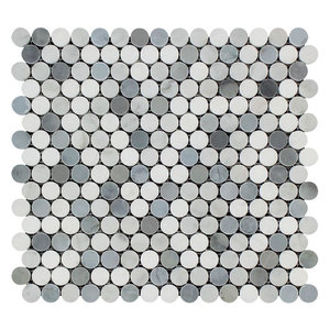 12 X12 Florence Carrara Ferrari Honed Marble Penny Round Mosaic 10 Pieces Traditional Mosaic Tile By Fancy Tiles And Mosaics