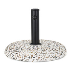 Mohave Outdoor Colorful Stone Concrete and Black Steel Unbrella Base