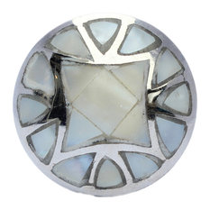 Mother of Pearl Drawer Knob With Silver Base - Pearl Cabinet Knob Nautical Decor