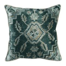 "Sullivan Printed 18"" Throw Pillow, Emerald by Kosas Home"