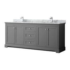 Avery 80-inch Dark Gray Double Vanity Carrara Marble Top Square Sinks No Mirror
