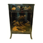 Tracey Hollywood Regency Navy Blue Lacquer Nightstand Cabinet - Contemporary - Accent Chests And ...