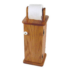 Amish Made Oak Free Standing Toilet Paper Cabinet/Holder