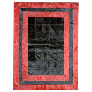 Black and Red Cowhide Rug, 120x180 cm