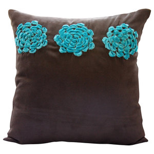 Brown Faux Suede 35x35 Turquoise Origami Flower Cushions Cover, Turq Blooms