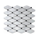 Carrara White Marble Long Octave Rhomboid Mosaic Tile w/ Black Dots Polished