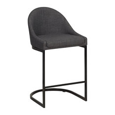 Curved Back Counter Stool, Leather, Shadow Fabric