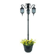 Home Garden Collections   6.6u0027 Tall Solar Lamp Post And Planter, 3 Heads,