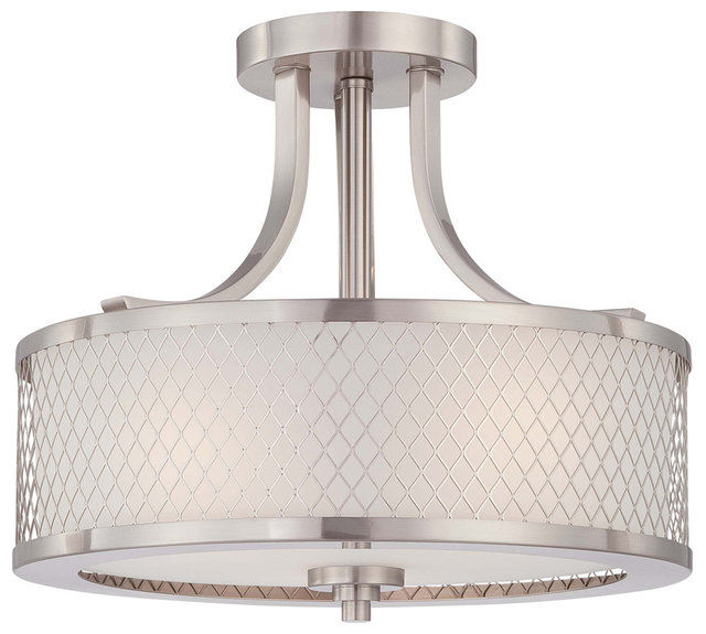 Fusion 3 light semi flush mount fixture transitional flush mount nuvo fusion 3 light semi flush fixture with frosted glass aloadofball Image collections