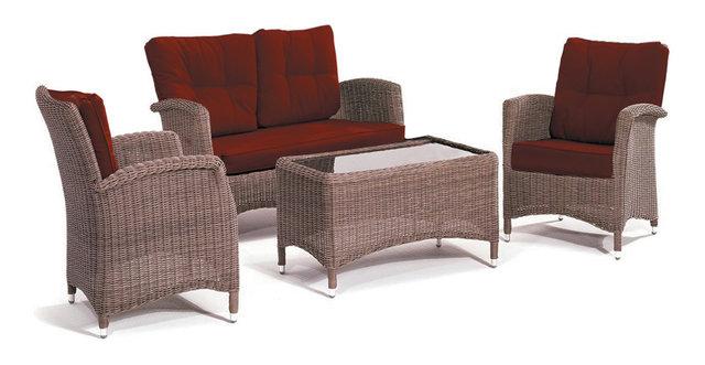 Kettler Lakena 4 Piece Wicker Patio Lounge Furniture Set, Jockey Red  Cushions