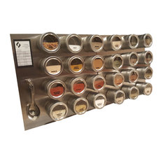 Magnetic Spice Rack, With Stainless Steel Plate, 24 Jars