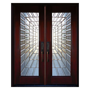"Exterior Front Entry Double Wood Door- Time Tunnel 36""x80""x2, Left Hand Swing In"