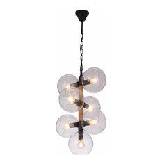 Metal Ceiling Lamp, Black Satin & Amber Glass