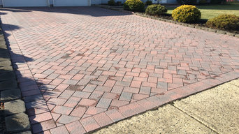 New paver Sidewalk for near stone Support columns