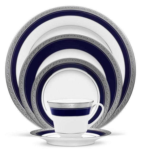 Noritake Crestwood Platinum 60-Piece China Set, Cobalt - Traditional ...
