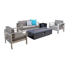 5-Piece Coral Bay Outdoor Khaki Chat Set and Fire Table Set, Gray
