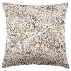 Fantasia Patterned Cushion, Pearl Grey