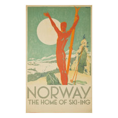 """Norway, The Home of Ski, ing Vintage Poster Norway 1937"" Print, 24""x36"""