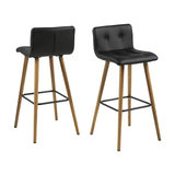 Fridi Barstool, Black Faux Leather, Set of 2