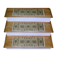 "Premium Stair Treads, Set of 13, Ivory/Border Color Ivory, 26""x9"" Tread Set"