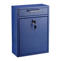 "Adiroffice Large Black Drop Box Wall Mounted Mail Box, 4.7""Dx11.2""Wx16.2""H, Blue"