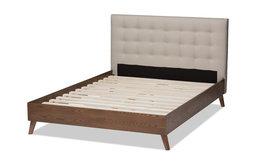 Alinia Mid-Century Modern Upholstered Walnut Wood King Platform Bed, Light Beige