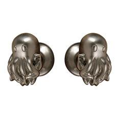 Octopus Doorknob, Polished Nickel