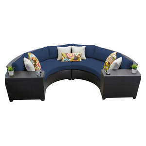 ca6f4c037d457 Mia Outdoor 4 Seater Wicker Curved Sectional Set with Wedge Tables ...