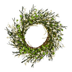 """20"""" Small Flower and Berry Twig Wreath"""