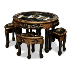 Mother of Pearl Cocktail Table With 4 Stools