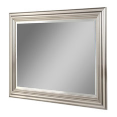 Contemporary Rectangular Wall Mirror, Silver, 74x101 cm