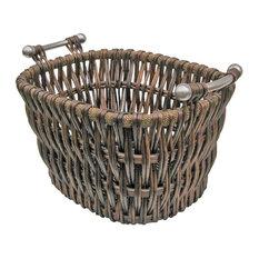 Modern Willow Log Basket, Brown