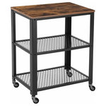 VASAGLE - Industrial Serving Cart, 3-Tier Kitchen Utility Cart,Metal Frame ULRC78X - This 3-Tier rolling cart creates a distinctive and modern atmosphere and adds more workspace to your home. Weathered and timeworn patina forms a warm and inviting country style, making an aesthetically pleasing storage cart. Spacious tabletop and 2 metal-grate shelves help store cookware, tableware and kitchen accessories. 4 free rolling casters allow easy mobility as you need while protecting the floor from scratches. The overall load capacity can reach up to 176 lb and is great to hold bulky and heavy items. Stylish and functional, this utility cart is perfect for your kitchen, living-room and other places that need extra organization. No need to break your back searching small appliances from dusty corners or hard-to reach cabinets anymore! With this practical serving cart, you can keep your room clutter-free! Specification: