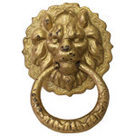 Golden Lotus - Metal Distressed Matte Gold Color Lion Head Shape Pull Handle Display Hcs3864 - This is a metal matte golden color finish lion head shape display Pull Handle Accent.